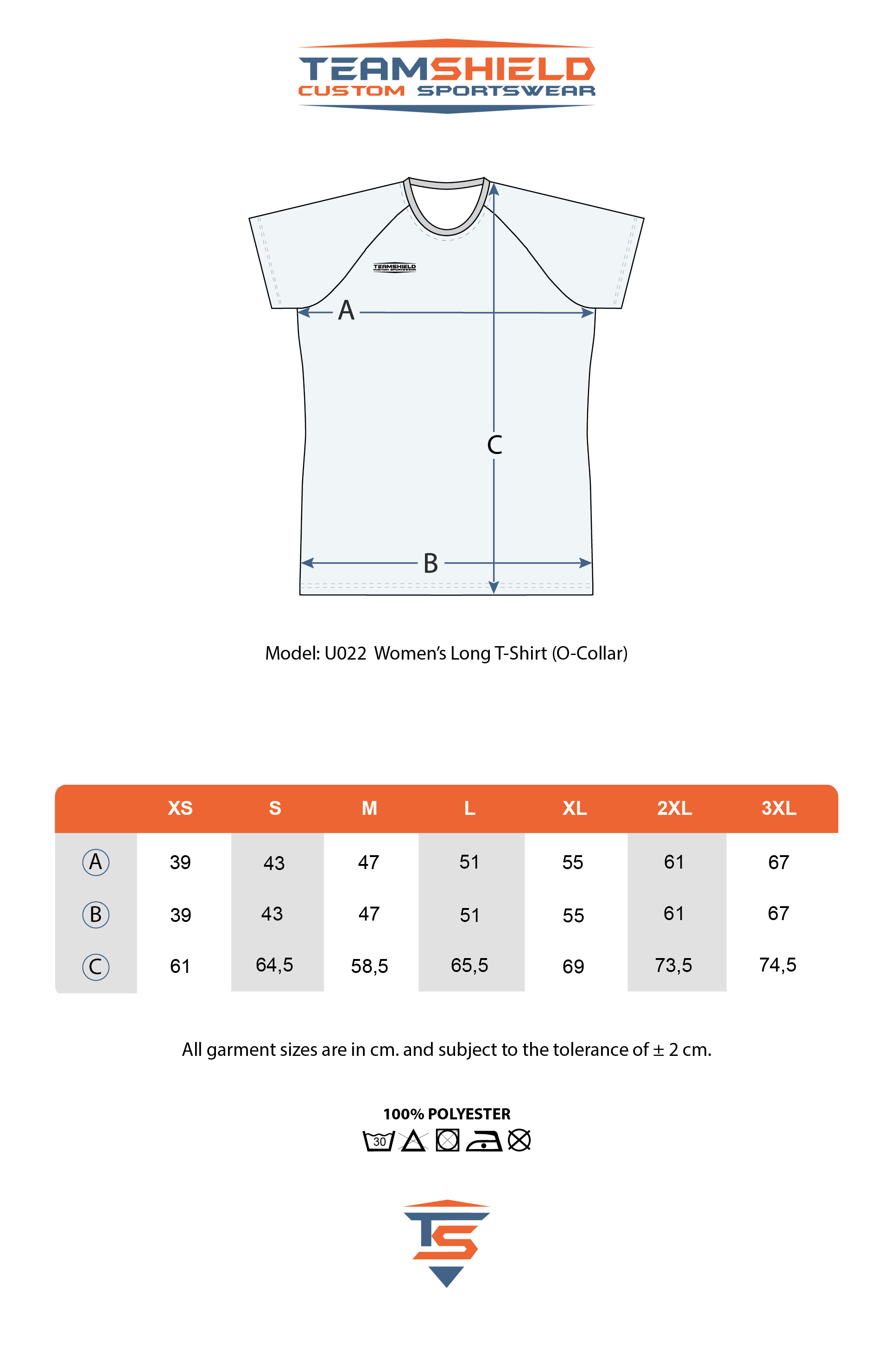 Teamshield-Custom-Teamwear-Sizechart-U022-Sublimation-Shirt-Women-Regular-Fit