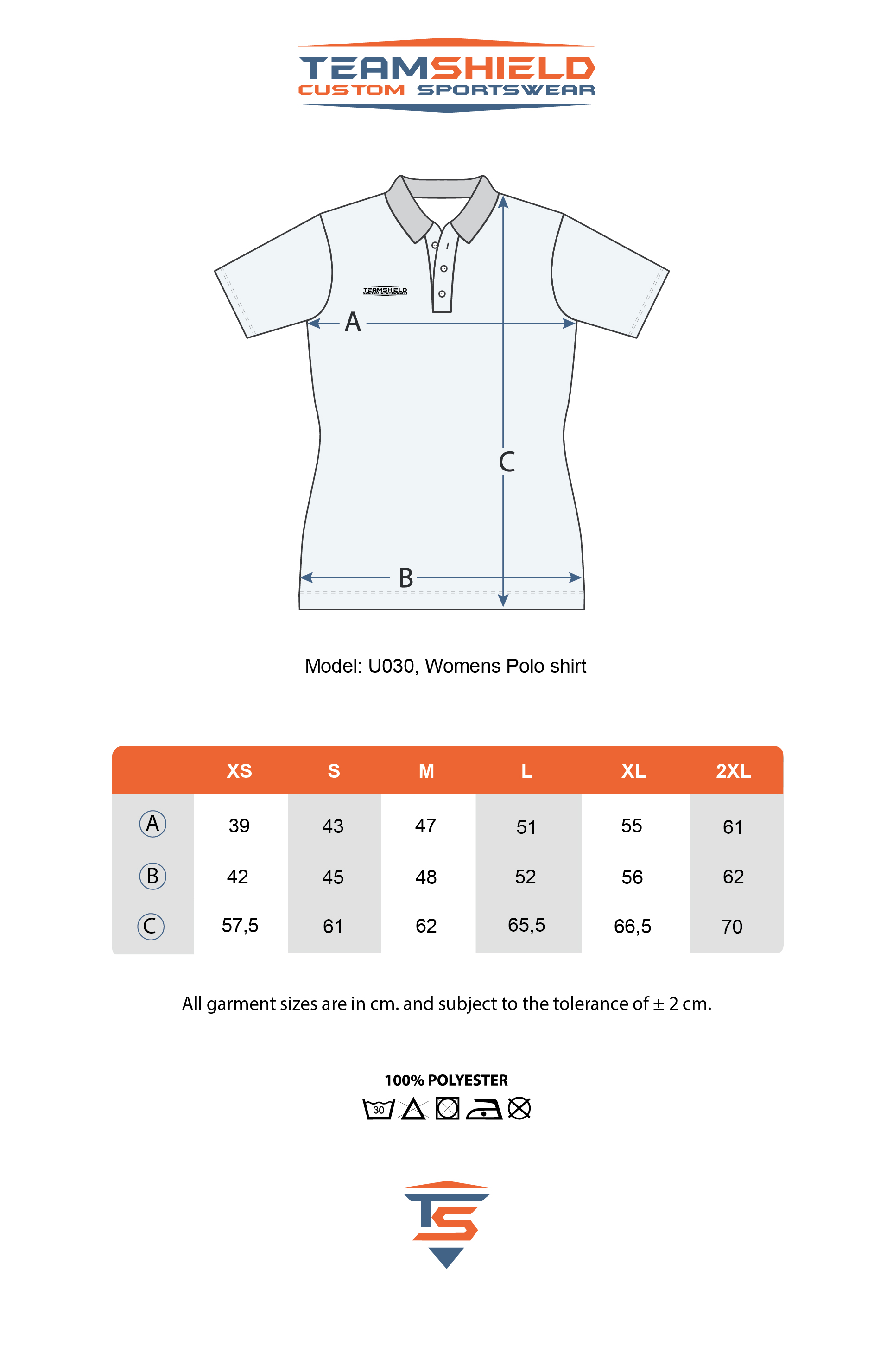Teamshield-Custom-Teamwear-Sizechart-U030-Women-Polo-Sublimation-Shirt