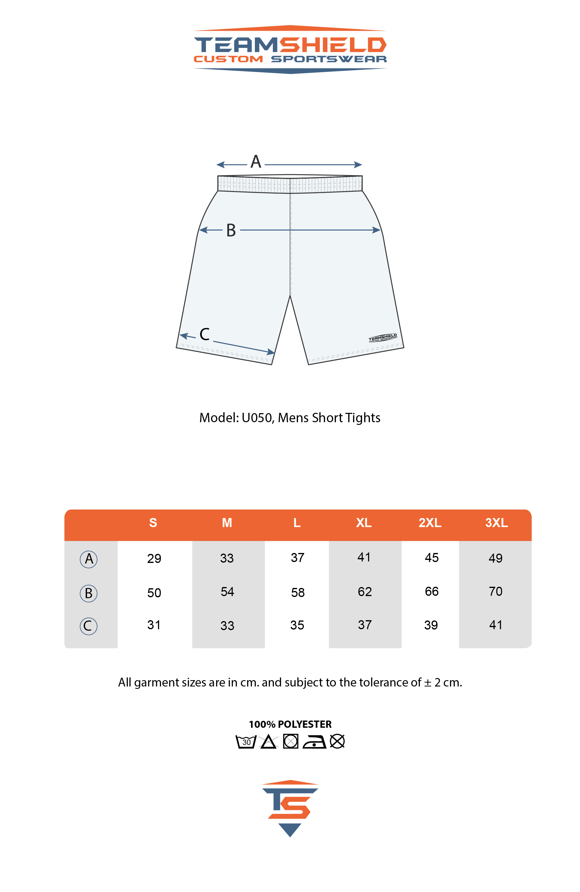 Teamshield-Custom-Teamwear-Sizechart-U050-Sublimation-Shorts-Unisex